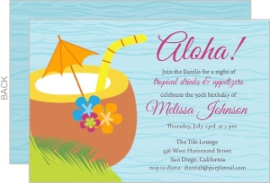 Blue Tropical Drink Luau Birthday Invite