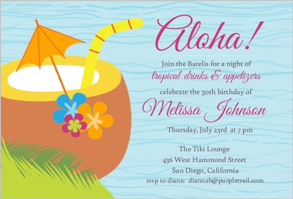 Blue Tropical Drink Luau Birthday Invite 30th Birthday Invitations