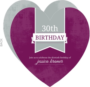 Gray And Purple Heart 30Th Birthday Invitation
