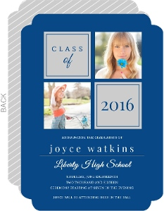 Gray and Blue Liberty HS Graduation Announcement