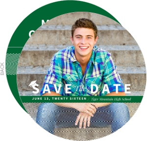 Green & White Stripes Tiger Mountain HS Graduation Save The Date Card
