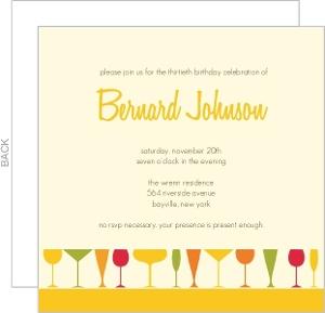Colorful Cocktail Glasses Birthday Invite