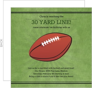 Green Yard Line Football Birthday Party Invitation