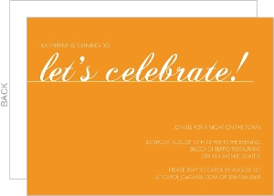 Orange Let S Celebrate Birthday Invitation