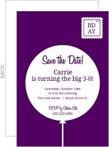 Purple Balloon Postcard 30Th Birthday Invitation