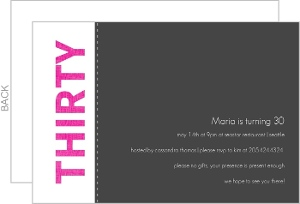 Pink And Gray Linen 30Th Birthday Party Invitation
