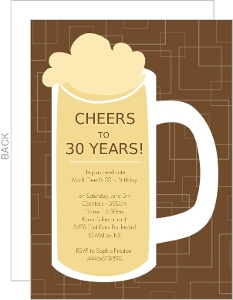 Brown Beers Cheers Birthday Invitations