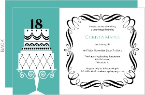 Fancy Cake 18th Birthday Invitation