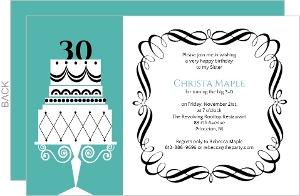 Fancy Cake Thirtieth Birthday Invitation