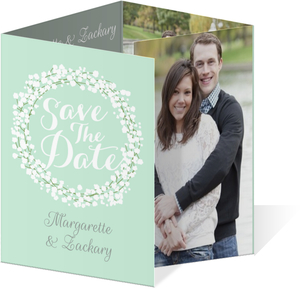 Whimsical Mint Babys Breath Wedding Save The Date Quadfold