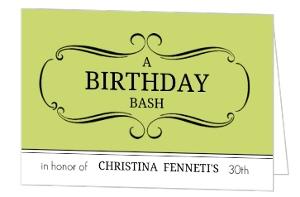 Light Green Bash 30Th Birthday Party Invite