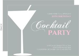 Martini Glass Cocktail Birthday Party Invitation