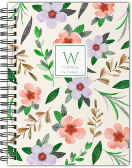 Red Watercolor Floral Notebook