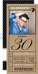 Modern Lines Black and White 30th Surprise Party Invitation