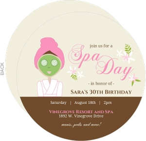 Cream And Brown Floral Spa Party Invitation