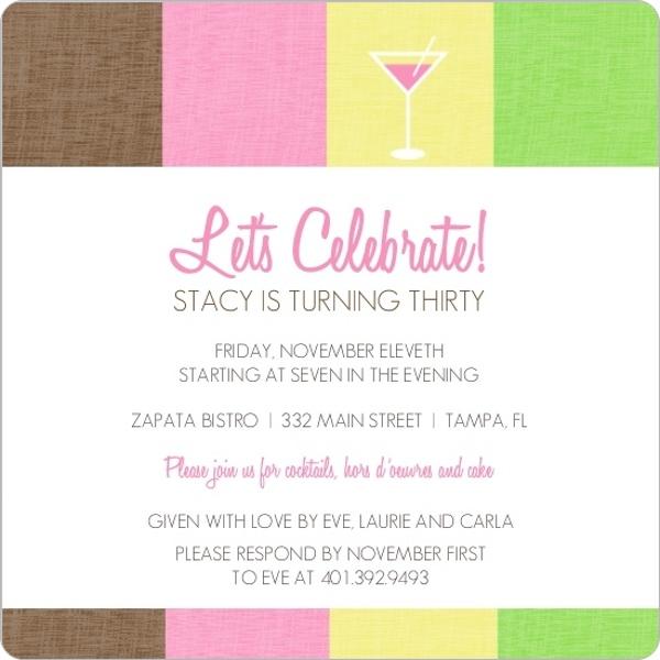 Cosmo Pink Drink 30Th Birthday Invitation 30th Birthday Invitations