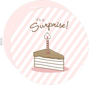 Pink Stripes And Cake Surprise Birthday Invitations