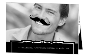 Old-Timey Moustache 30Th Birthday Invite