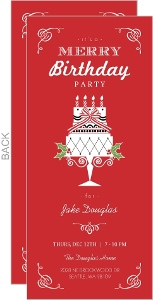 Red 30Th Merry Birthday Party Invitation