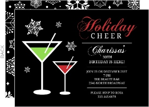 Holiday Cheer Martini 30Th Birthday Party Invite