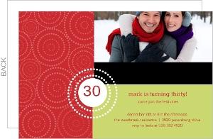 White Circles Holiday Birthday Invitation - 2699