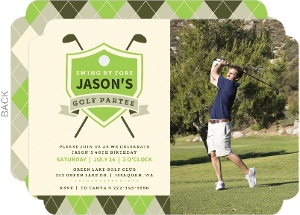 Elegant Golf Birthday Partee Photo Invitation