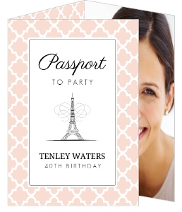 Pink Pattern Parisienne 40Th Birthday Invitation