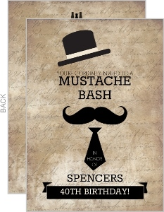 Rustic Mustache Gentleman 40Th Birthday Invitation