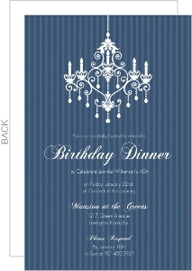Elegant Chandelier Blue Birthday Party Invitation - 2759