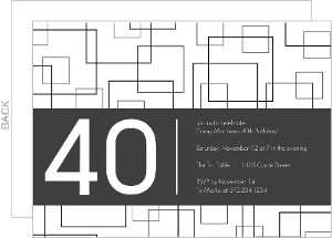 Grey Squares 40Th Birthday Invitation