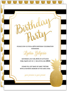 Modern Chic Pineapple 40th Birthday Party Invitation