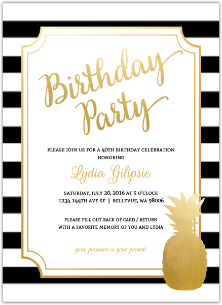 Modern Chic Pineapple 40th Birthday Party Invitation – How to Fill out a Birthday Party Invitation