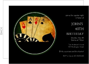 Black Poker Night 40Th Birthday Invitation