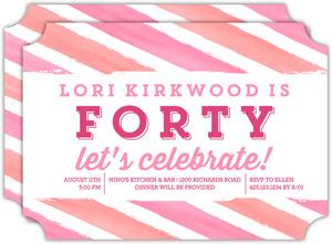 Bright Watercolor Stripes 40th Birthday Invitation