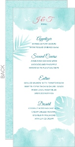 Watercolor Palms Wedding Menu Card