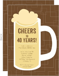 Brown Beers Cheers 40Th Birthday Invitation
