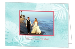 Watercolor Palms Wedding Thank You Card