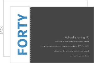 Blue And Gray 40Th Birthday Invitation