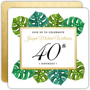 Elegant Tropical Surprise 40th Birthday Invitation