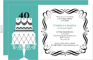 Fancy Cake Formal 40Th Birthday Invite