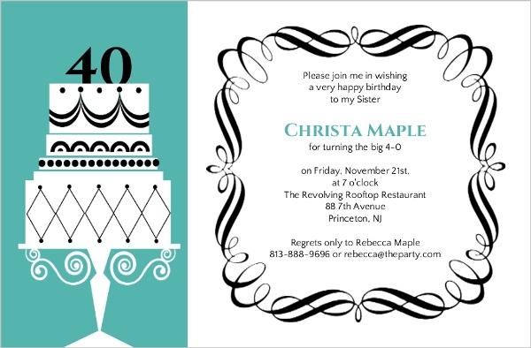 Formal Birthday Invitation – Formal Birthday Party Invitations
