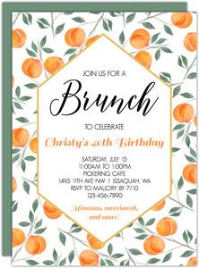 Watercolor Peach 40th Birthday Invitation