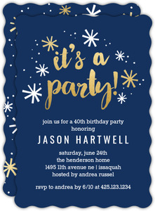 Navy and Gold Confetti 40th Birthday Party Invitation