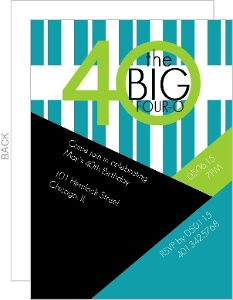 The Big 4-0 Angles Stripes Birthday Invite