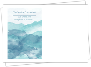 Blue Watercolor Seaside Thank You Business Envelope