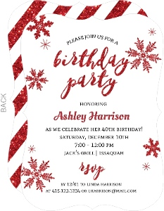 Holiday Faux Glitter Snowflakes Birthday Invitation
