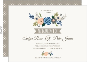 Soft Blue and Taupe Floral Wedding Invitation