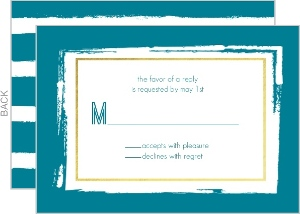 Brushstroke Faux Foil Wedding Response Card