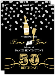 Gold and Black Rustic Confetti 50th Birthday Invitation