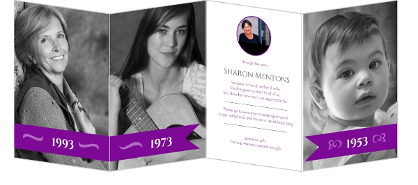 Purple Banner Quadfold 50th Birthday Invitation